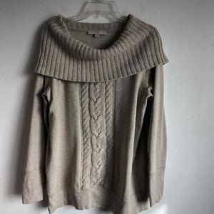 Ann Taylor LOFT Fleece Top Knit Angora Cowl Neck L